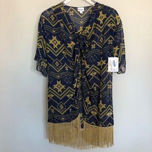 NWT LuLaRoe | {Monroe} Navy & Gold Fringe Kimono